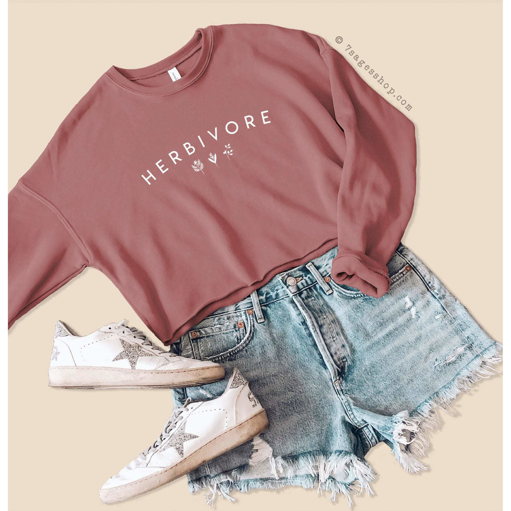 Herbivore Sweatshirt - Vegan Cropped Sweatshirt - Vegan Shirt - Fleece Sweater - Cropped Sweater - Mauve / S