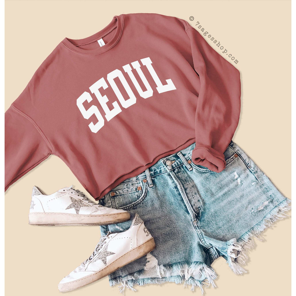 Seoul Sweatshirt Seoul Cropped Sweatshirt K Pop Shirt Korea Shirt Korea Sweatshirt K Pop Sweatshirt Seoul Crop Top Fleece Sweatshirt - Mauve