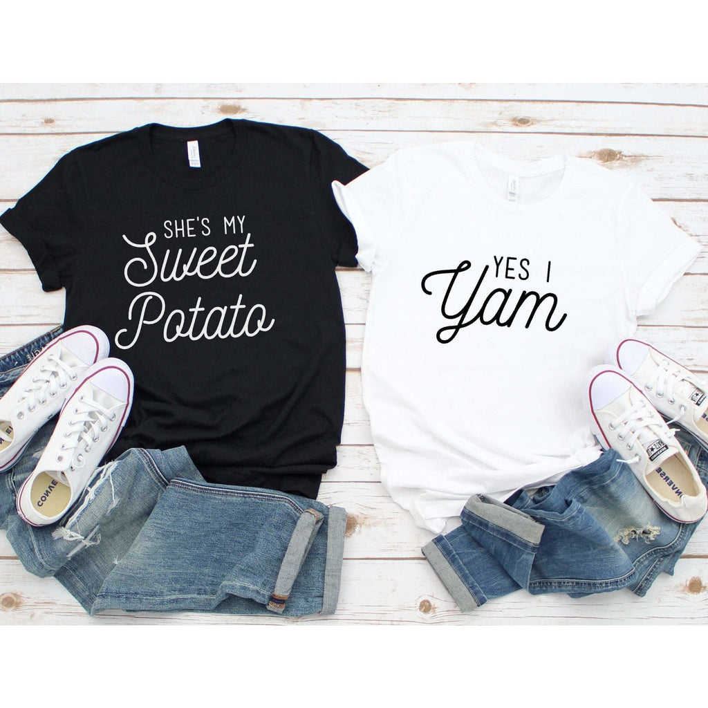 She's My Sweet Potato Yes I Yam Couples Shirts - Heather Maroon / XS - Shirt