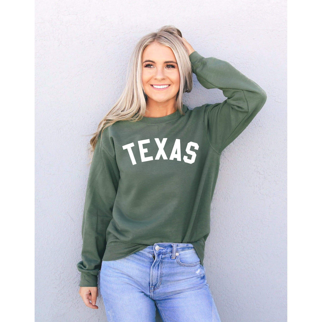 Texas Sweatshirt - Texas Shirt - Texas Gifts - Texas Tshirt - Texas Sweater - Military Green / S - Sweater