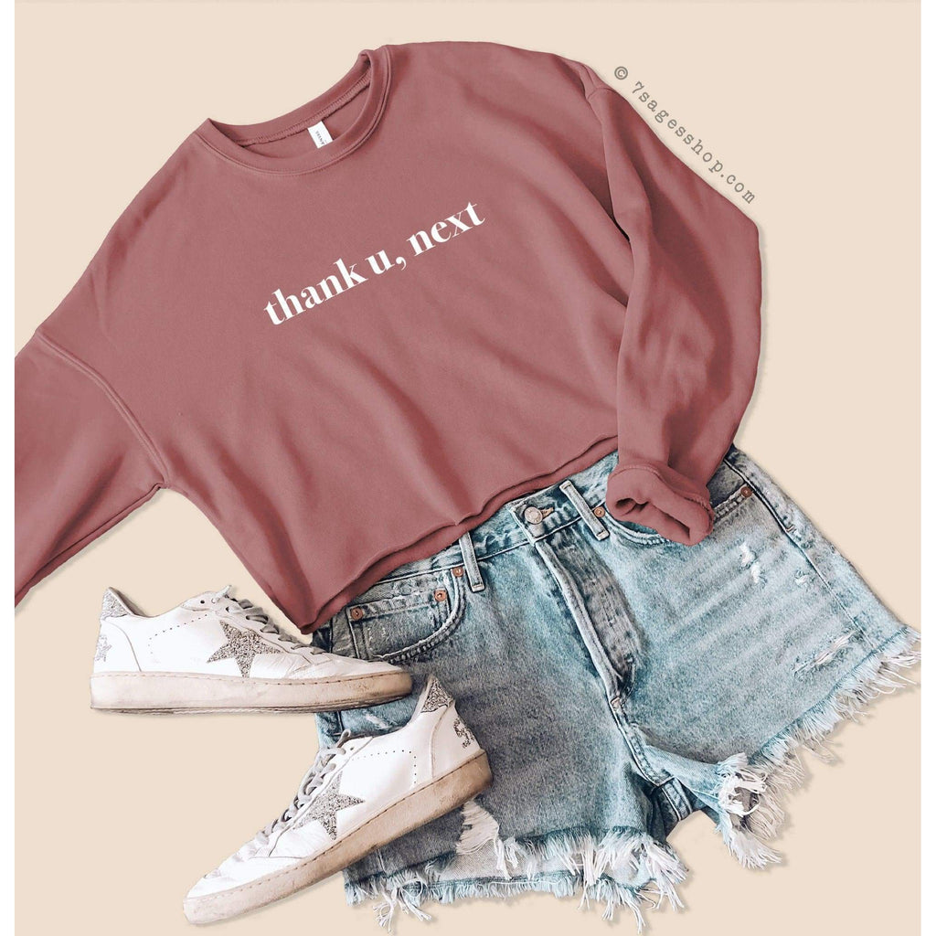 Ariana Grande Cropped Sweatshirt - Thank U Next Sweatshirt - Ariana Grande Shirts - Thank U Next Crop Top - Fleece Sweatshirt - Mauve / S