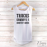 Trucks Cowboys & Country Music Muscle Tank Top