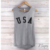 USA Muscle Tank Top - Non-organic / Gray w/ Black Print / S