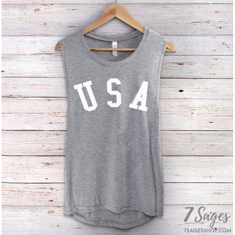 USA Muscle Tank Top - Non-organic / Gray w/ White Print / S