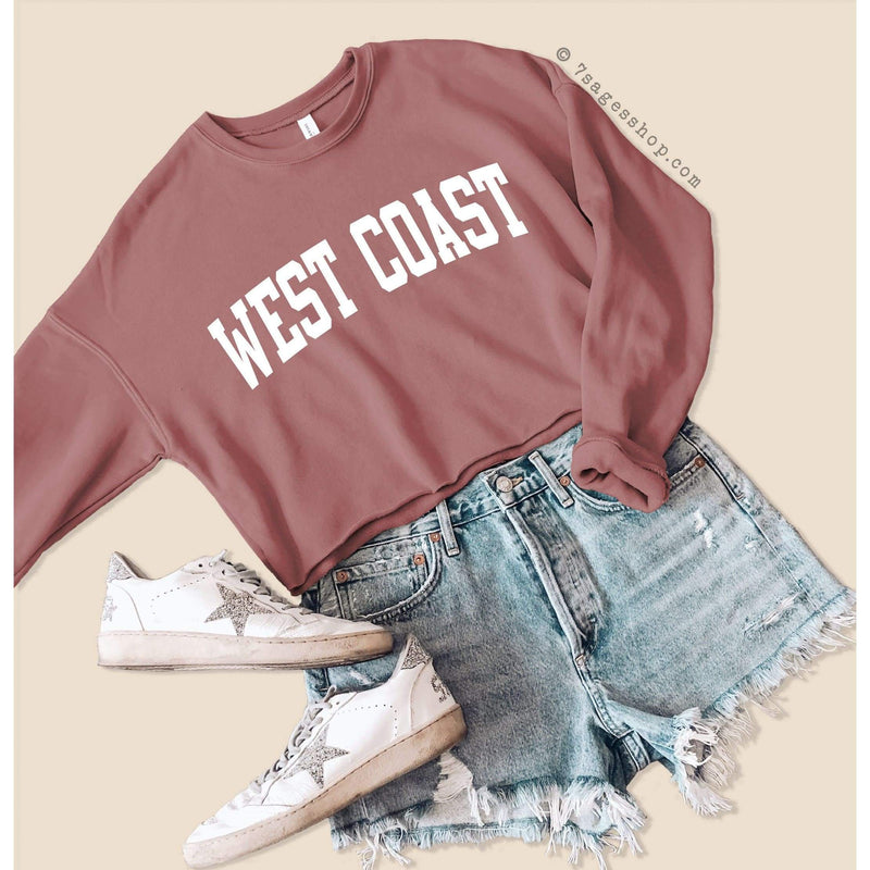 West Coast Sweatshirt - West Coast Cropped Sweatshirt - West Coast Shirts - Fleece Sweater - Cropped Sweater