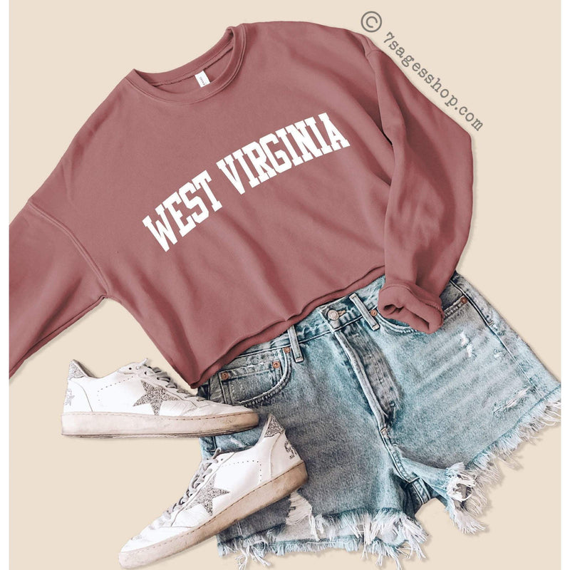 West Virginia Cropped Sweatshirt West Virginia Sweatshirt West Virginia Shirts West Virginia University Crop Top Fleece Sweatshirt