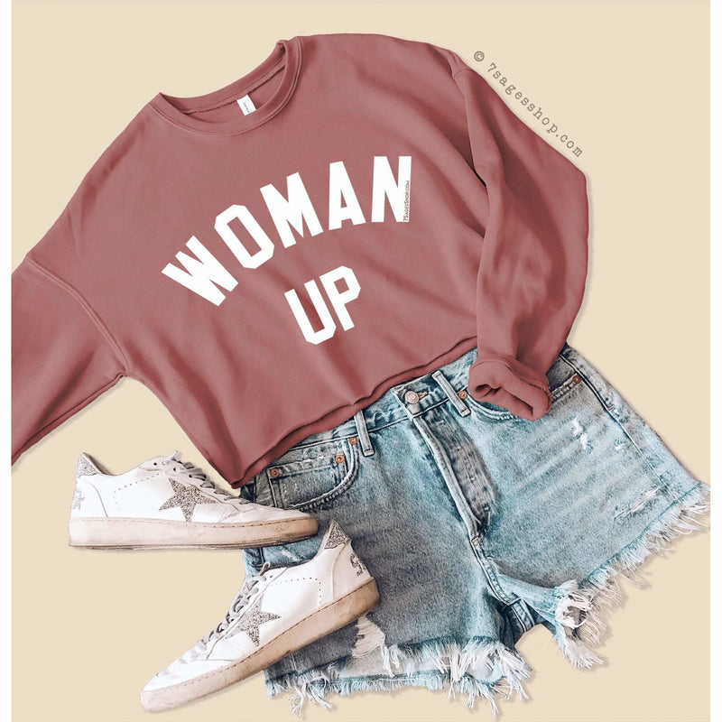 Woman Up Cropped Sweatshirt - Woman Up Sweatshirt - Feminist Shirts - Woman Up Crop Top - Fleece Sweatshirt - Mauve / S