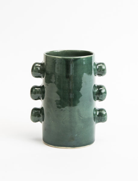 Ceramic Knob Vase - Forest Green