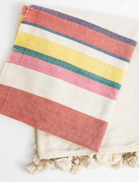 Striped Tassel Throw - Multi-Color