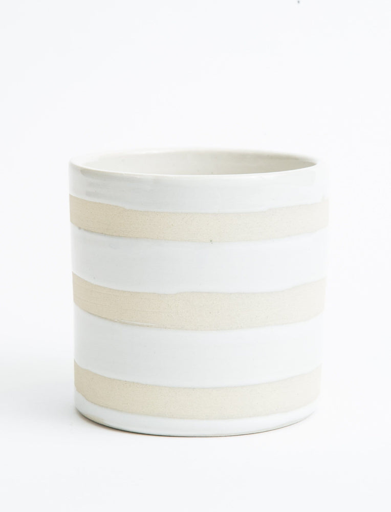 Striped No-Handle Mug