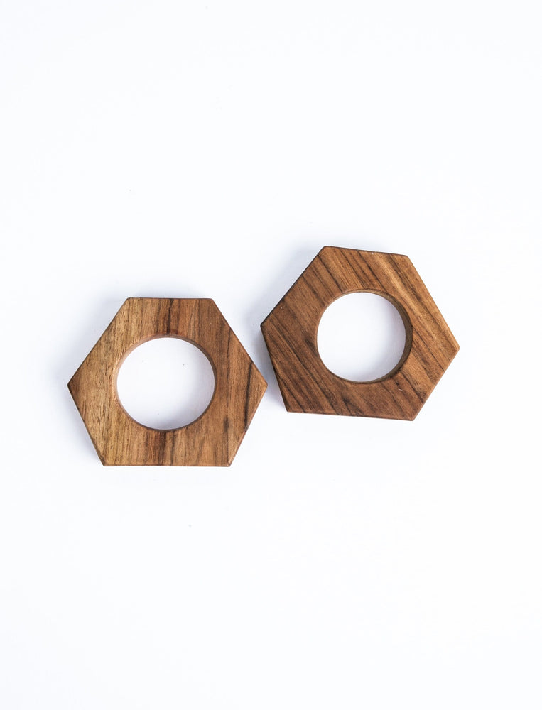 Wood Hex Napkin Rings (Set of 2)