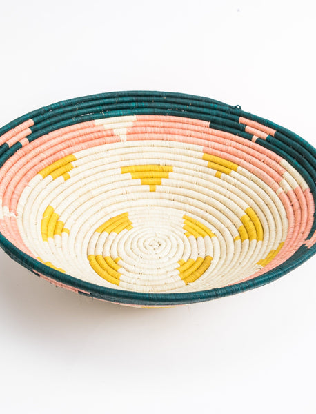 Round African Basket - Triangle Pattern