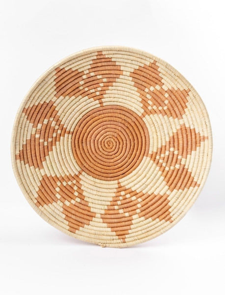 Round African Basket - Taupe Tribal Print