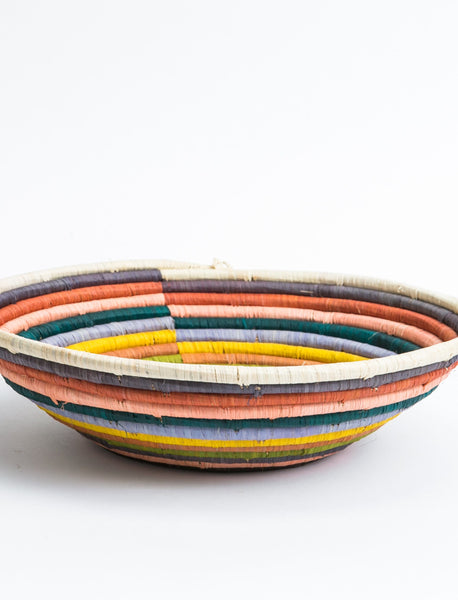 Round African Basket - Rainbow Striped