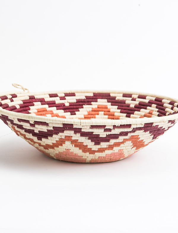 Round African Basket - Pointed Pattern