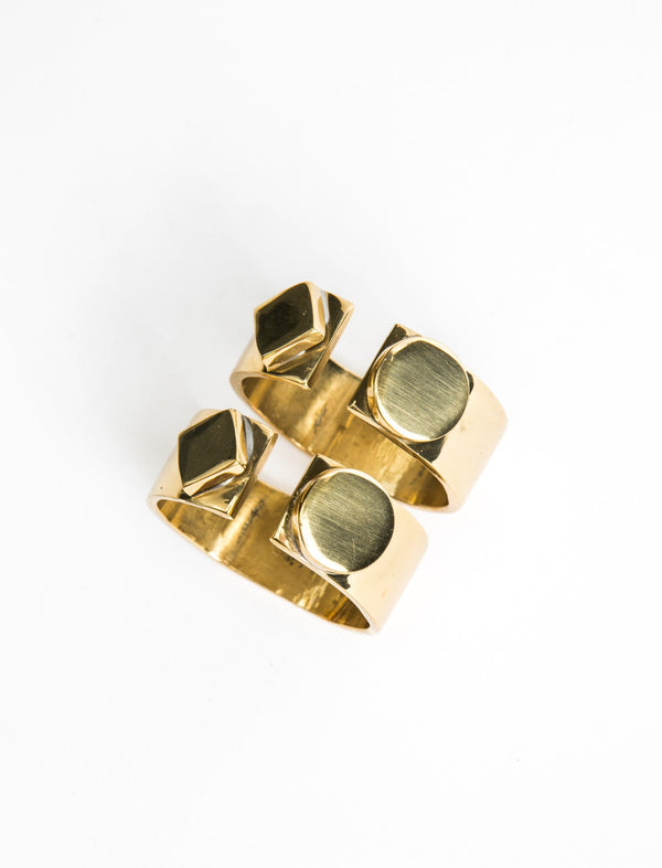 Brass Geometric Napkin Rings
