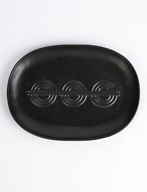 Deco Serving Platter - Matte Black