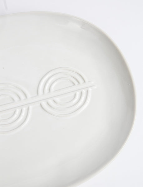 Deco Serving Platter + Bowl - White