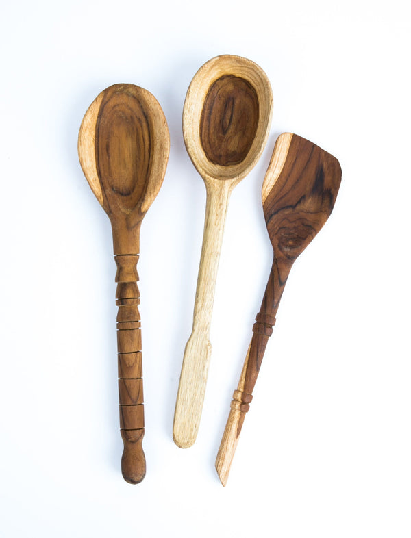 Wood Serving Spoons (Set of 3)