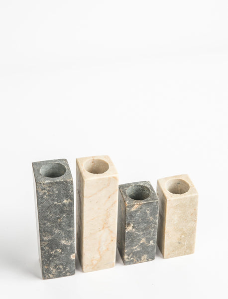 Marble Candlestick Charcoal - Short