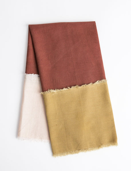 Color Block Tea Towel Set - Rust/Mustard