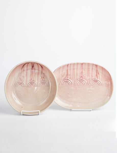 Deco Serving Platter + Bowl - Pink Watercolor