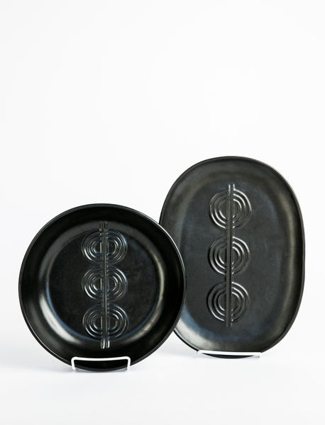 Deco Serving Platter + Bowl - Matte Black