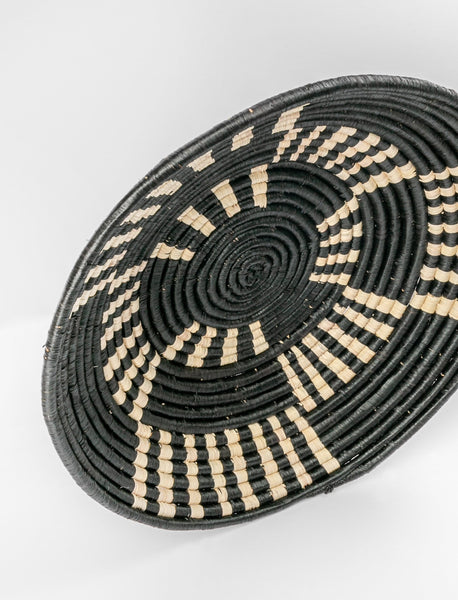 Round African Basket - Black Striped Blocks