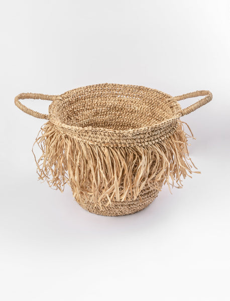 Fringed Basket with Handles