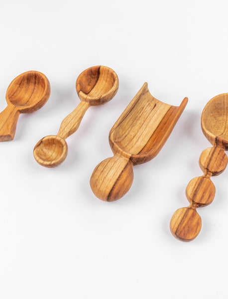 Teak Scoops - Set of 4