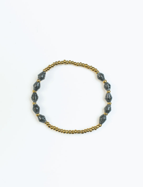 Black Single Strand Stretch Bracelet