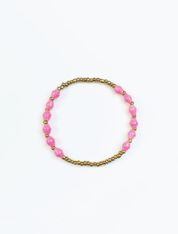 Neon Pink Single Strand Stretch Bracelet