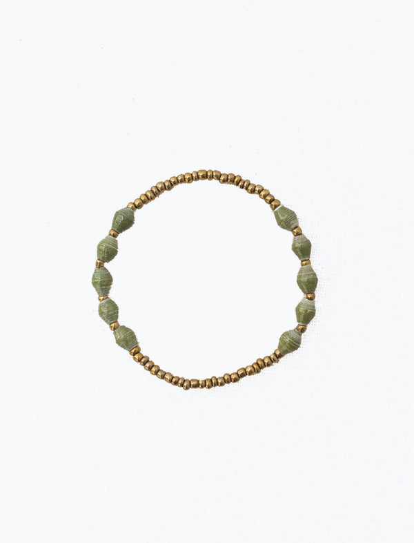Olive Single Strand Stretch Bracelet