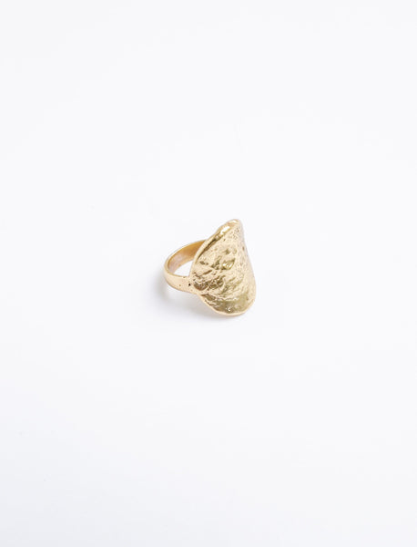 Hammered Oval Gold Plated Ring