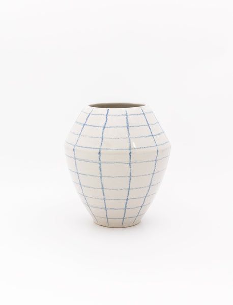 Blue Checked Bola Vase
