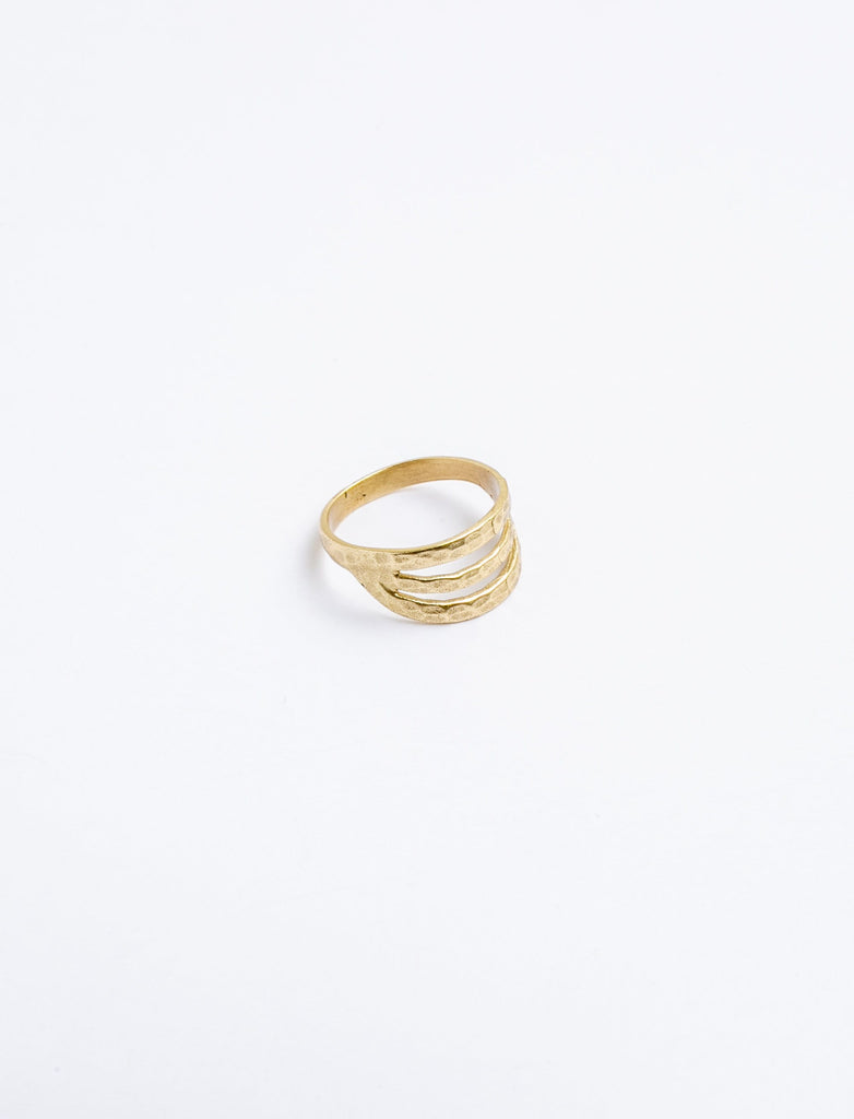 Hammered Trinity Gold Plated Ring