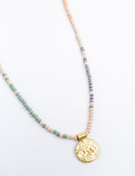 Colorblock Coin Necklace
