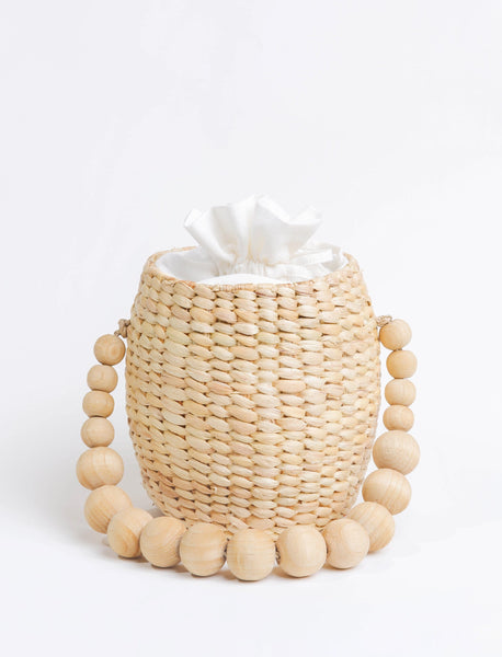 Natural Wood Bead Bucket Bag