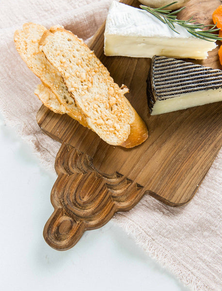 Carved Teak Cheese Board Set