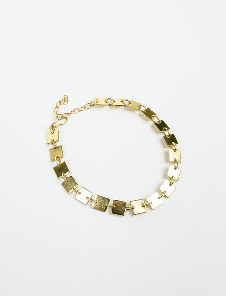 Connected Squares Gold Plated Bracelet