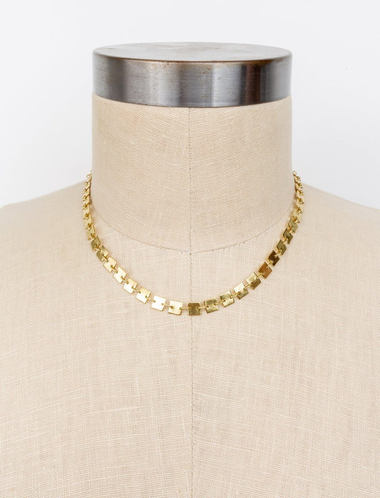 Connected Squares Gold Plated Necklace