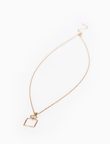 Hammered Open Square Necklace