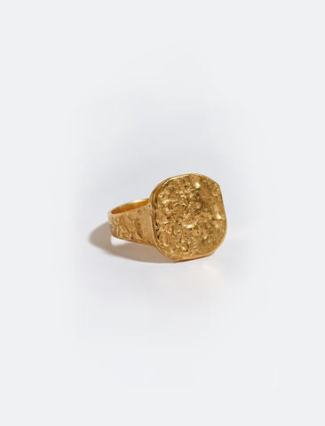 Hammered Signet Gold Plated Ring