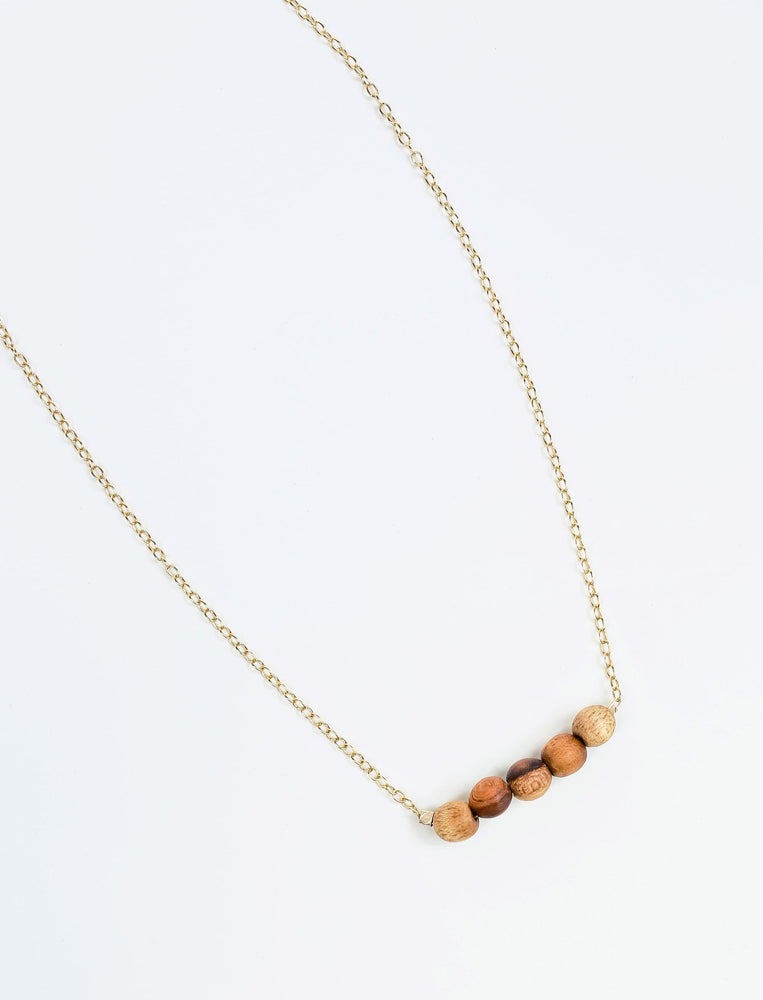 Mini Teak Row Necklace