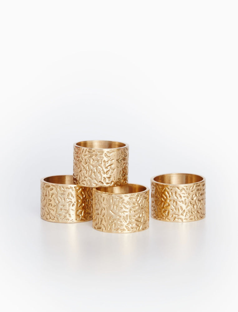 Scattered Rice Brass Napkin Rings - Set of 4