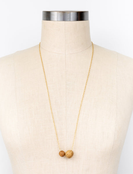 Teak Duo Drop Necklace