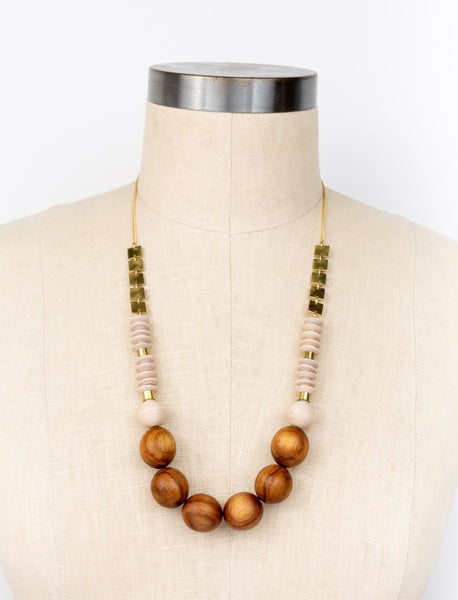 Teak Mosaic Necklace