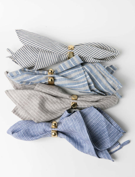 Blue Striped Linen Napkin Set