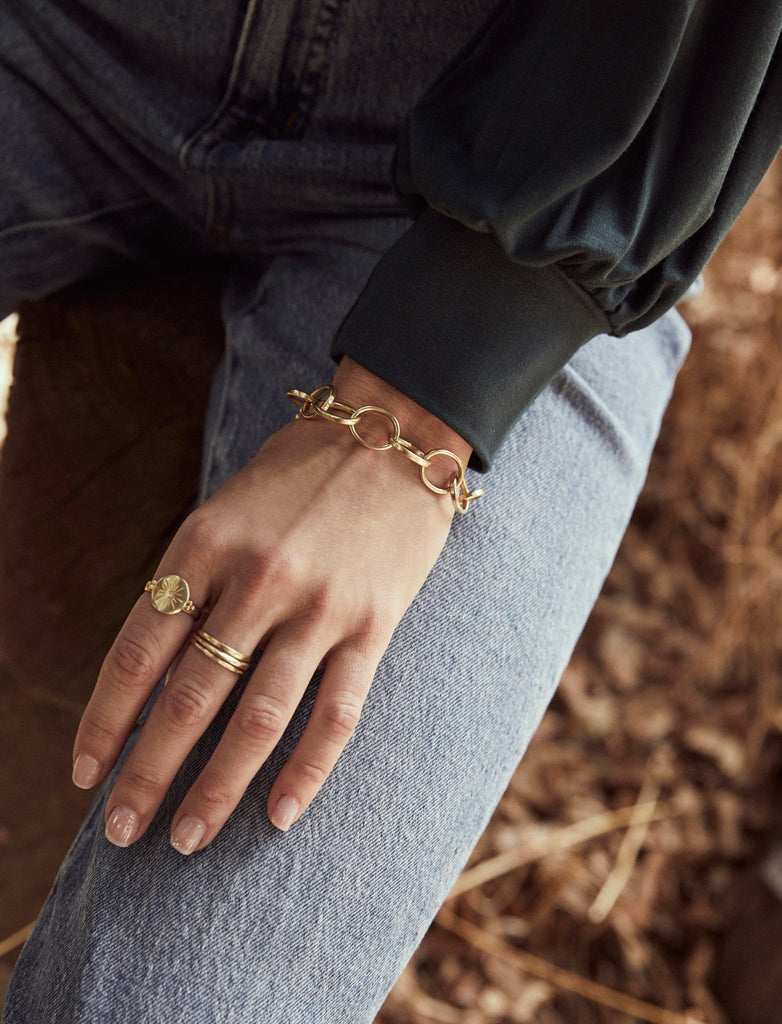 Hammered Stacking Gold Plated Rings