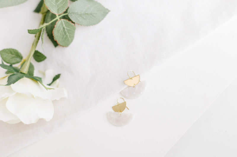 Shipping Late July (Available for PRE-ORDER ONLY) Acetate Half Moon Brass Earrings